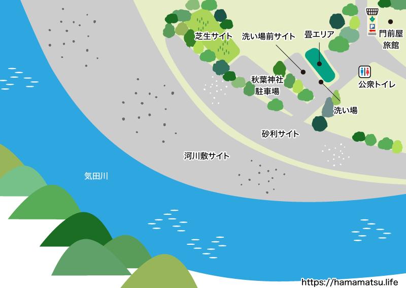 秋葉神社前キャンプ場マップ